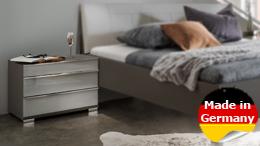 Nachtkonsole Loft Nachtkommode Nachtschrank Kommode Schlafzimmer mit Glas grau