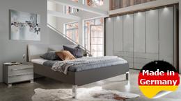 Schlafzimmer Set Loft Kleiderschrank Futonbett Nachtkommode mit Glas in grau