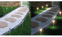 Edelstahl Solarleuchten 6er Set Gartenlampen mit Akku silber