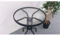 Bistrotisch mit Glasplatte Ø60cm rund anthrazit Gartentisch Balkontisch