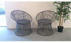 Rattan Sessel 2er Set grau mit Sitzkissen Outdoor Garten Korbsessel