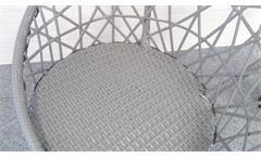 Rattan Sessel 2er Set Gartenstuhl grau mit Sitzkissen Outdoor Korbsessel