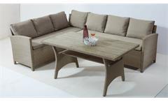 Loungeset Kreta Garten Sitzgruppe Rattangeflecht Tisch Polywood Outdoor