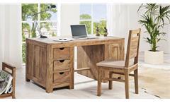 Schreibtisch YOGA Sheesham massiv Landhausstil Wolf Möbel