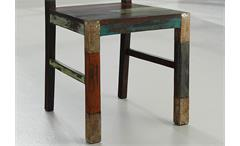 Esszimmerstuhl Holzstuhl Küchenstuhl Goa 6er Set Stuhl Massivholz Mango bunt