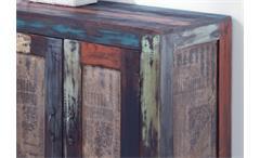 Kommode Sideboard Goa Schrank in Massivholz Mango Vintage Used-Look Multicolor