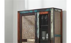 Vitrine Goa 3511 Schrank in Massivholz Mango Vintage Used-Look Multicolor