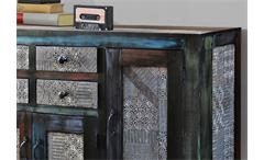 Sideboard Kommode Goa mit 4 Türen in Massivholz Mango Multicolor Vintage Look