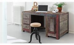 Schreibtisch Goa Red 3529-HI bunt lackiertes Massivholz Mango im indischen Stil