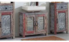Bad Waschbeckenunterschrank Goa Red 3549-HI von Wolf Möbel in Vintage Massivholz