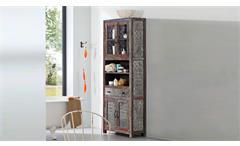 Bad Hochschrank Goa Red 3553-HI 4 Türen von Wolf Möbel massives Mangoholz bunt