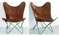 Loungestuhl Butterfly Sessel 4er Set Echtleder braun Vintage Retro Wolf Möbel