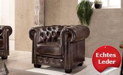 Chesterfield Sessel Leder Antik braun Luxus hochwertige Qualität