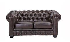 Chesterfield Sofa 2-Sitzer Couch Leder braun Antik Luxus hochwertige Qualität