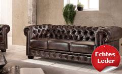 Chesterfield Sofa 3-Sitzer Couch Leder Antik braun Luxus hochwertige Qualität