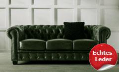 Chesterfield Sofa 2-Sitzer Couch Leder grün Antik Luxus hochwertige Qualität