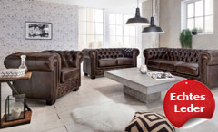 Chesterfield Garnitur 3-2-1 Leder Antik braun Luxus hochwertig