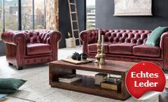 Chesterfield Garnitur 3-2-1 Leder Antik rot Luxus hochwertig