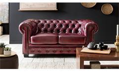 Chesterfield Garnitur 3-2-1 Leder Antik rot Luxus hochwertige Qualität