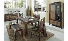 Esszimmerstuhl Holzstuhl Küchenstuhl Goa 4er Set Stuhl Massivholz Mango bunt
