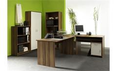 Büroset Compact Büoprgramm Büro Schreibtisch Regal in Walnuss und weiß