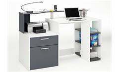 Schreibtisch I ORKO Tisch in Weiß und Graphite Grau Dekor
