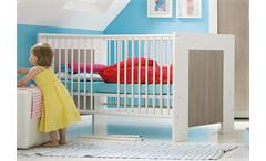 Babybett MICHI Bett weiß Dekor und Pinie Rustika umbaubar