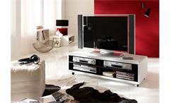 TV Board JEFF Lowboard Schrank in weiß und schwarz 120 cm
