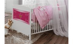 Babybett KATE Sprossenbett Bett weiß rosa inkl. Lattenrost