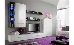 Wohnwand ROBO Anbauwand in weiß und schwarz hochglanz