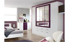 Schlafzimmer-Set Burano Kleiderschrank Bett Nachtkommoden in Weiß und Brombeer