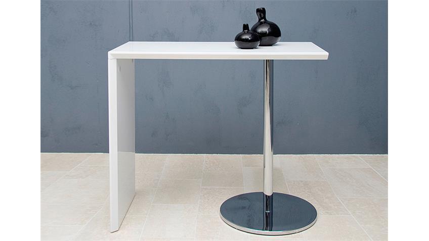 Bartisch TITAN in weiß Stehtisch Tisch in Hochglanz weiß