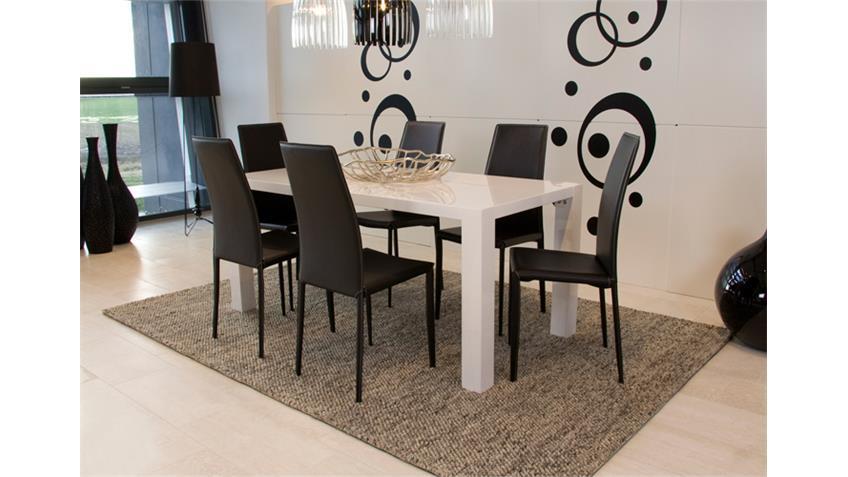 Esstisch TWIST Tisch weiß Hochglanz Größe 140x90 cm