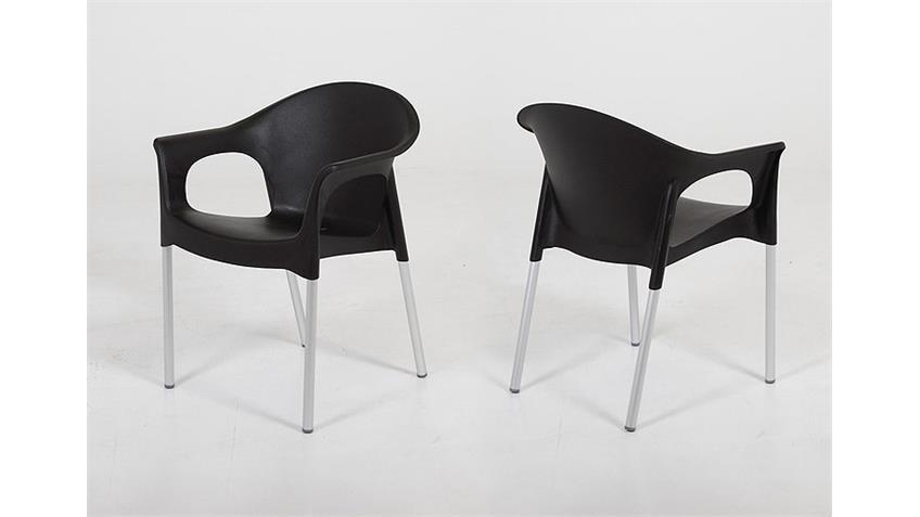 Stuhl TROJA in schwarz Esszimmerstuhl und Outdoor geeignet