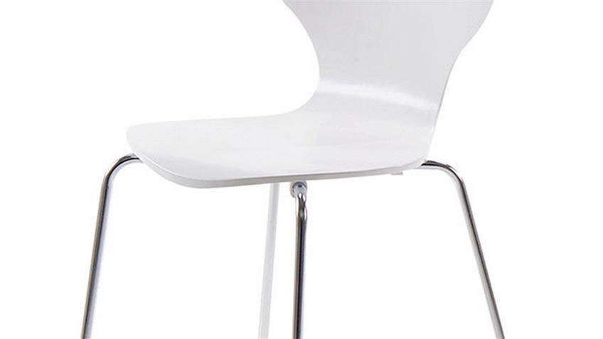 Stuhl MARCUS 4er Set Holzschale weiß Gestell verchromt