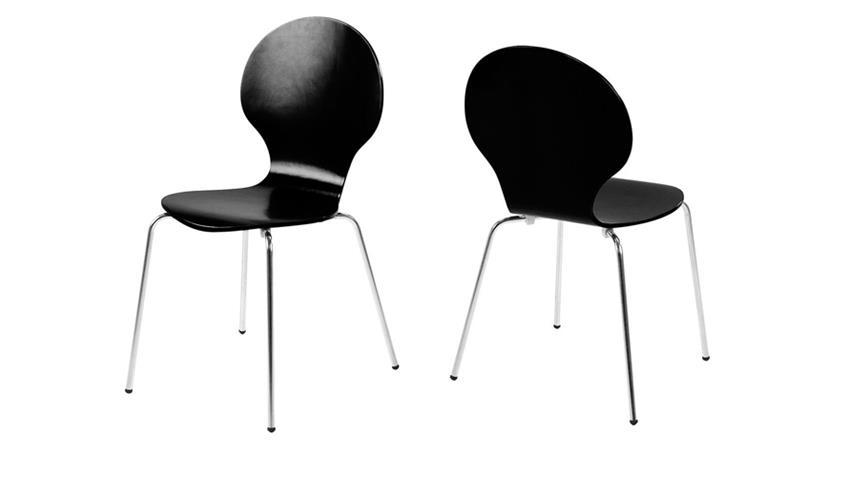 Stuhl MARCUS 4er Set Holzschale schwarz Gestell verchromt