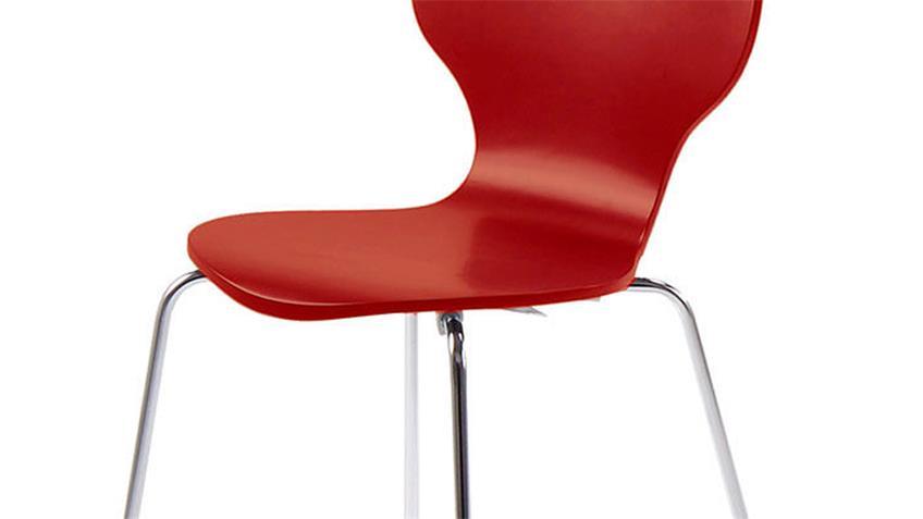 Stuhl MARCUS 4er Set Holzschale rot Gestell verchromt