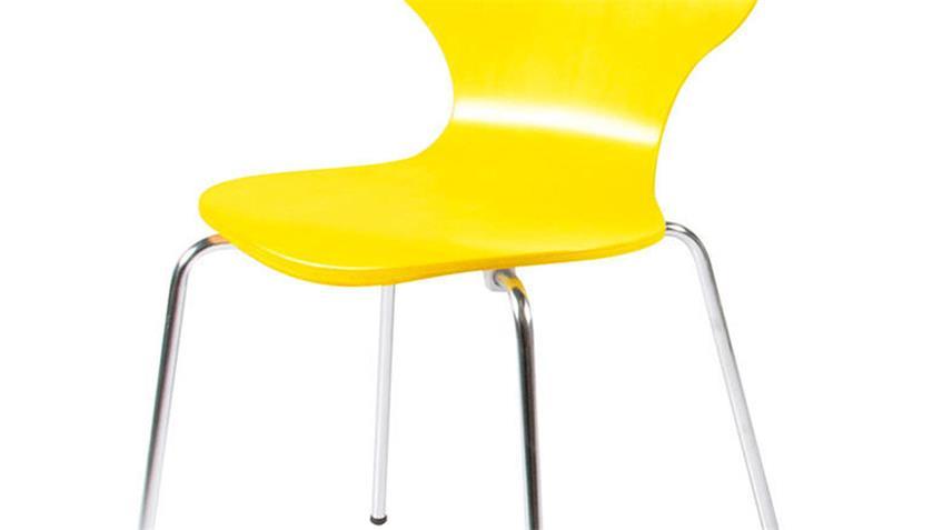 Stuhl MARCUS 4er Set Holzschale gelb Gestell verchromt