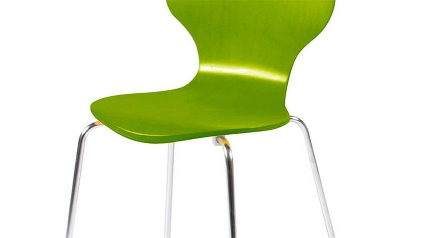 Stuhl MARCUS 4er Set Holzschale grün Gestell verchromt