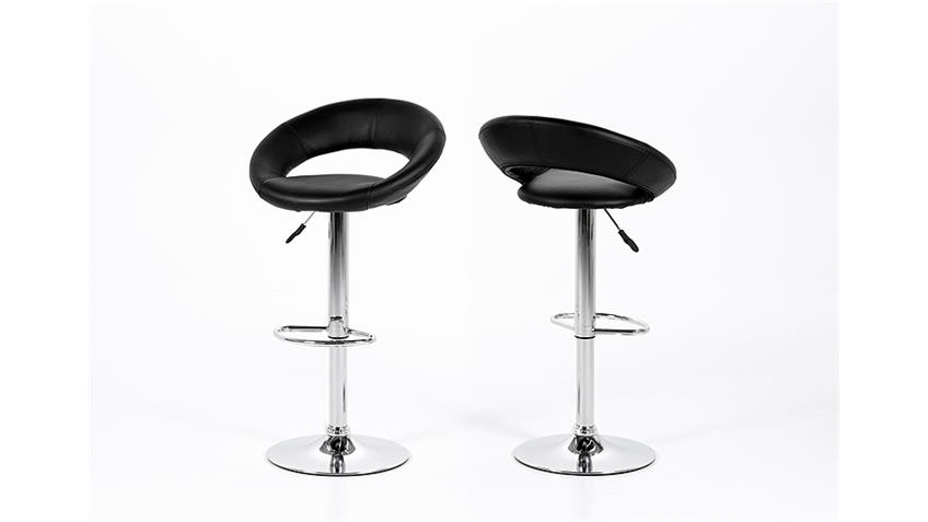 Barhocker PLUMP Designer Barstuhl 2er Set schwarz und Chrom