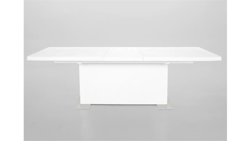 Esstisch BRICK Synchronauszug Hochglanz weiß 180-230 cm