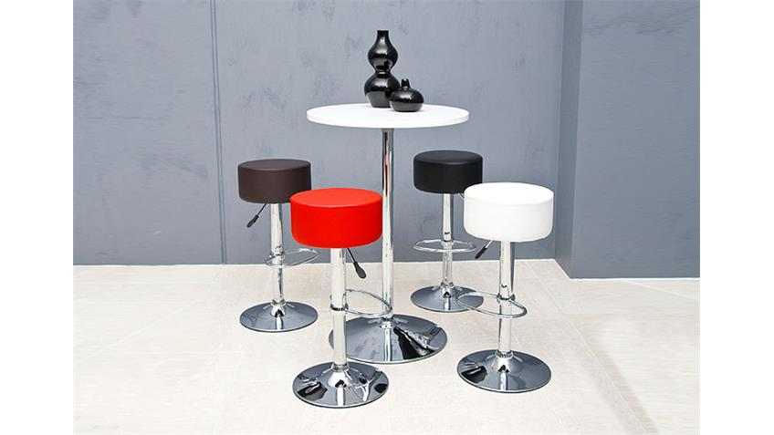 Barstuhl DIGGY Stuhl 2er Set in rot und Chrom verstellbar