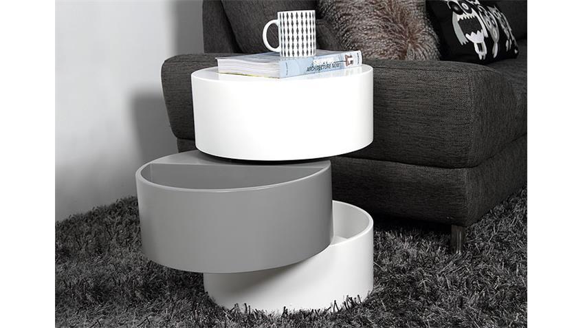 Couchtisch PURAL Tisch in weiß matt lackiert Umfang 40 cm