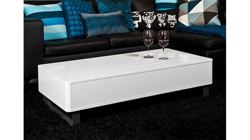 Couchtisch PERRY Beistelltisch Tisch weiß Hochglanz und Alu
