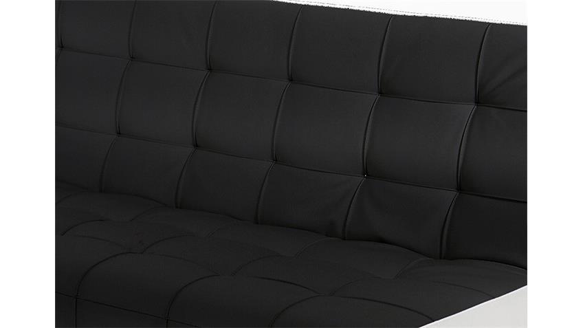 Schlafsofa REGGAE Sofa Bettcouch in schwarz weiß und Chrom