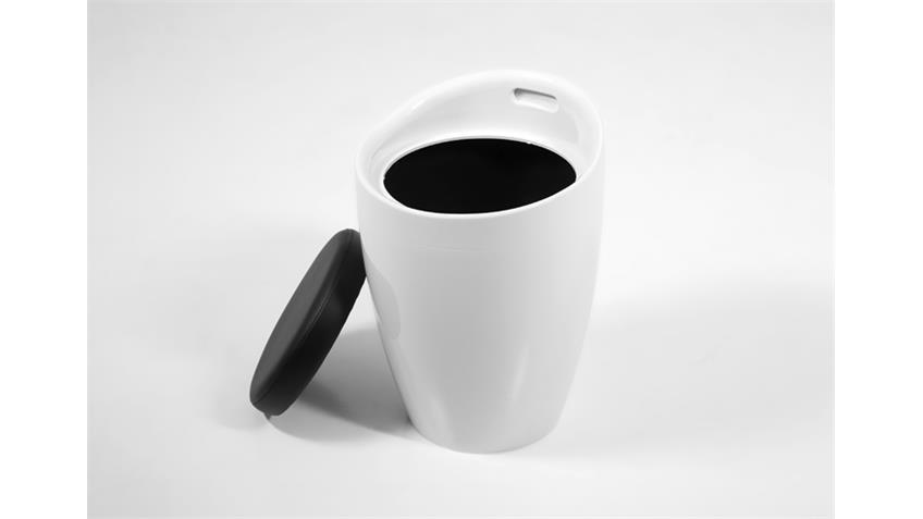 Hocker MINXIE Kunststoff Weiß Sitzpolster Schwarz