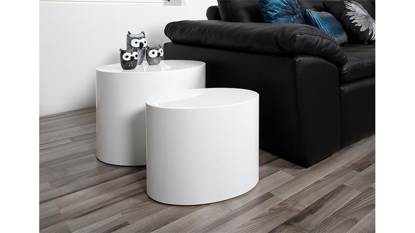 Couchtisch Satz MICE Beistelltisch Tisch in weiß Hochglanz