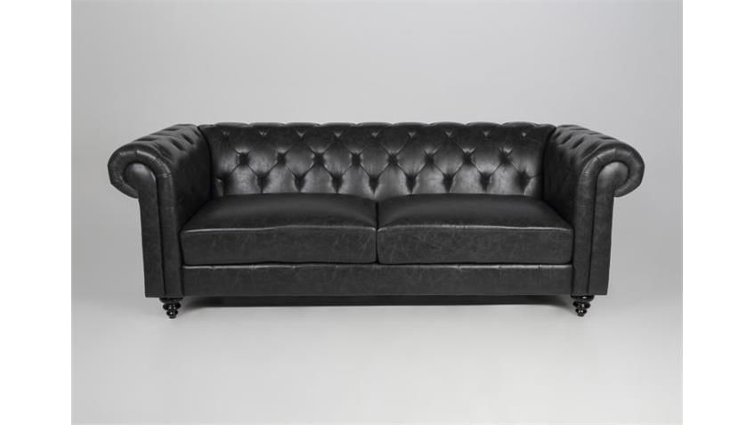 2er Sofa CHARLIETOWN Polstermöbel in Antik schwarz 160 cm