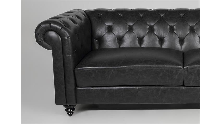 3er Sofa CHARLIETOWN Polstermöbel in Antik schwarz 219 cm