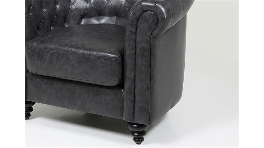 Sessel CHARLIETOWN Sofa Polstermöbel in Antik schwarz 99 cm